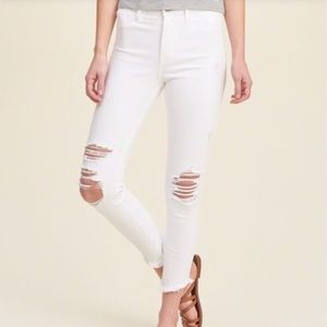 Distressed High Rise White Crop Raw Hem Jeans